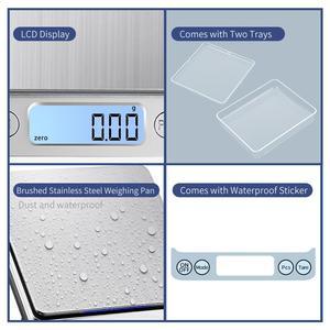 Image 3 - KUBEI قابلة للشحن ميزان المطبخ الرقمي ، 3 كجم 0.1 جرام/1 كجم 0.01 جرام ميزان المطبخ مقياس مجوهرات مع صينية متعددة الوظائف مقياس الطبخ