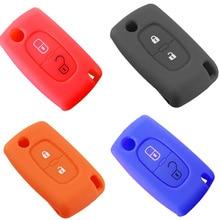 2 boutons Silicone clé de voiture couvre étui pour PEUGEOT 207 307 308 407 408 pour Citroen C3 C4 C4L C5 C6 housse de protection