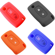 2 buttons Silicone Car Key Covers Case For PEUGEOT 207 307 308 407 408 For Citroen C3 C4 C4L C5 C6 Protector Cover