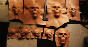 Image 1 - Hand work unique design tools Leather shaping mould Handcrafted leather tools   skeleton skull molds