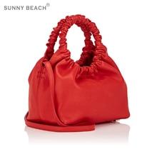 women bag fashion design with the same paragraph handbag retro pleated ring
