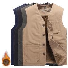 Winter Vest Waistcoat Multi-Pockets Windbreaker Sleeveless Jacket Spring Fleece Thicken