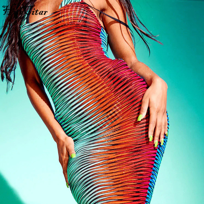 Hugcitar 2020 sleeveless print bodycon sexy maxi dress summer women fashion streetwear outfits party sundress