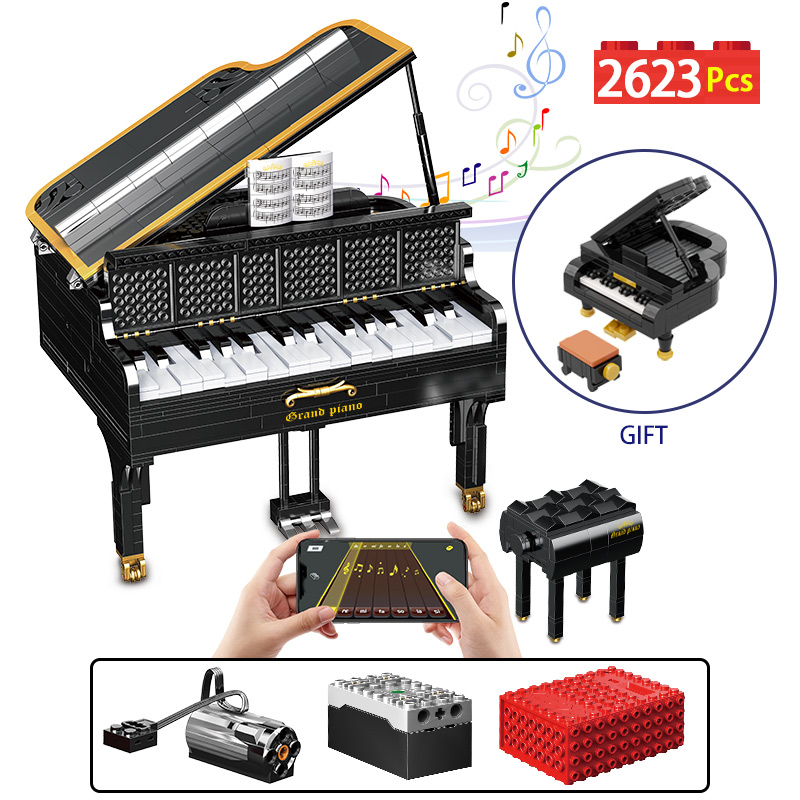 MOC Electric PIANO APP RC/non-RC Bluetooth Suitable Speaker Brick Technic Creator Building Blocks Education Kid Toys