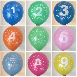 10pcs/lot Kids Birthday balloon number 1 2 3 4 5 6 7 8 9 years old 1st 2nd Birthday party digital ballon Latex Balony Globos