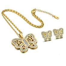 New Jewelry Fashion Big CZ Butterfly Stainless Steel Pendant Necklace Earrings for Women Indian Jewelry Sets newest stainless steel fashion heart jewelry 2 colors necklace and earrings sets for women sbjjgbed