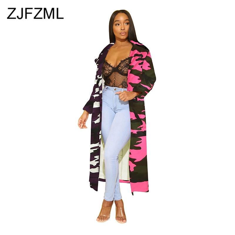 Automne Camouflage x-long jean veste femmes col rabattu néon ample Denim veste grande taille à manches longues mince ouvert point manteau