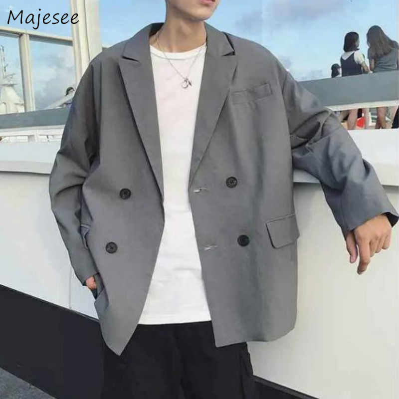 Blazers Men Oversize Leisure Suits Tops Summer Double-breasted Loose Vintage Fashion British-style Simple All-match Korean Solid