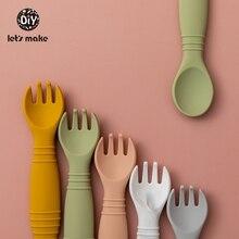 Let's Make Silicone Baby Feeding Set Waterproof Spoon Fork Non-Slip Feedings Tableware Baby Products Dinnerware For Kid BPA Free