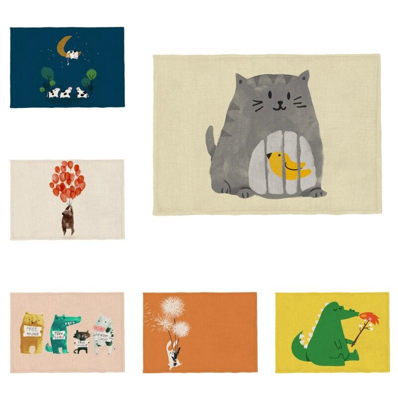 Cute Anime Placemat Cat Cow Bird Dog Cage Bear Dinosaur Polar Bear Napkin Kitchen Wedding Can Be Washed Washing Linen Custom