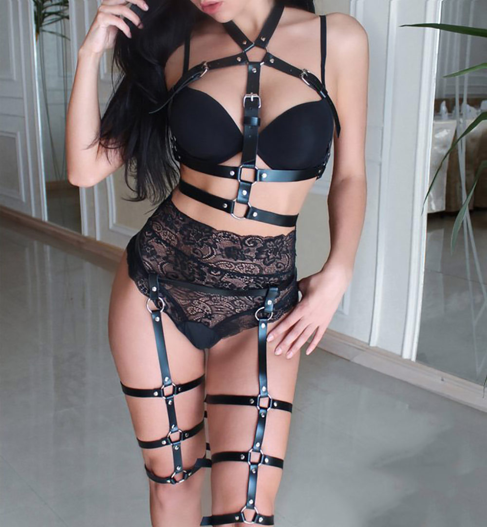 Sexy Sets 2PCS Women Garters Bra Harness Leg Bondage Straps Fashion Bra Leg Garter Adjustable Leather Belt Punk Style Lovely Xun