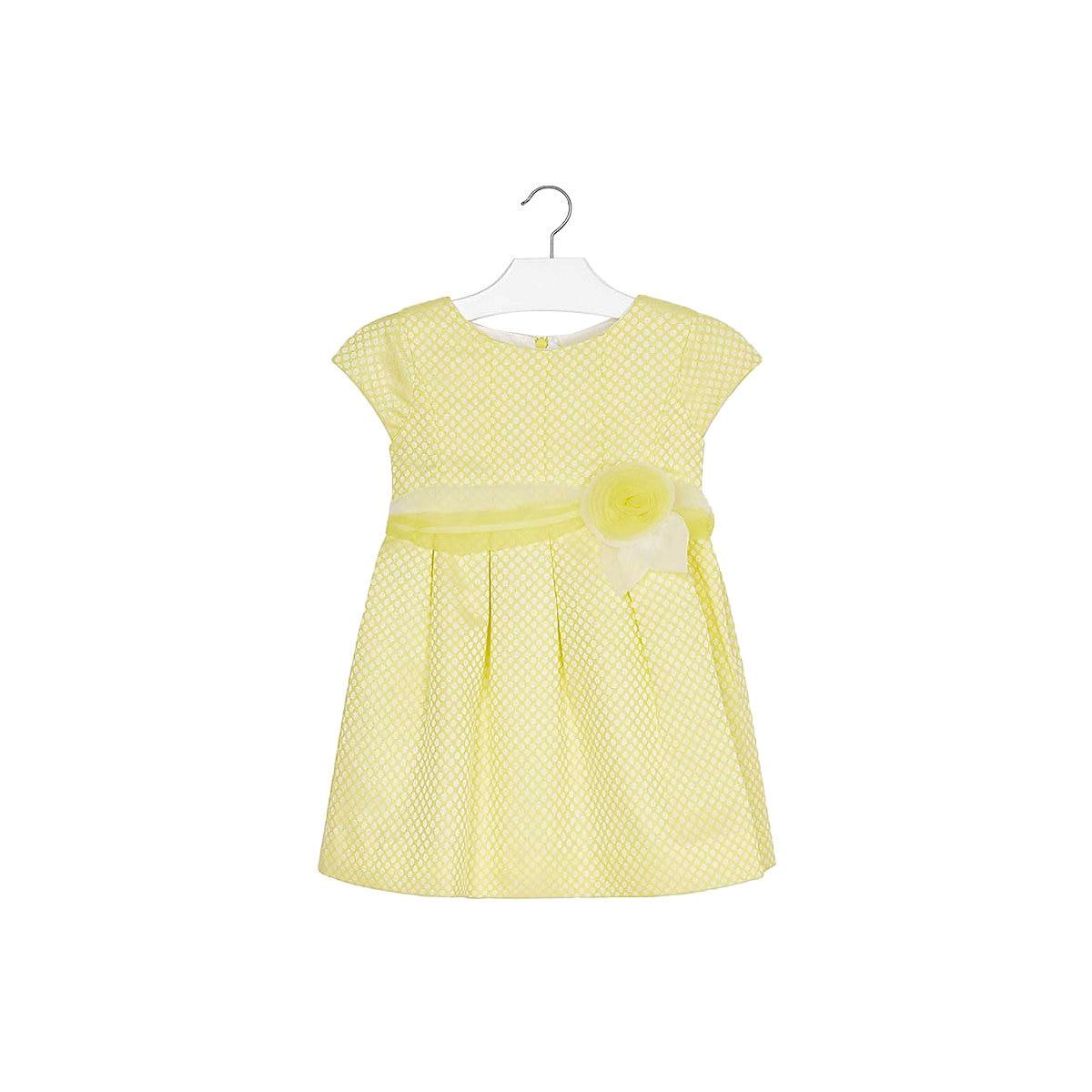 MAYORAL Dresses 10688901 Girl Children Party fitted pleated skirt Yellow Polyester Preppy Style Solid Knee-Length Short Sleeve tribal style fringe hem short skirt