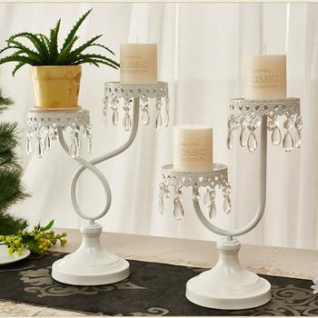 European Metal Candle Holders Crystal White Wedding Dinner Dining Table Romantic Candlestick Decoracion Hogar Home Decor MM60ZT