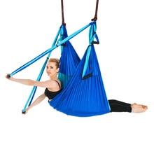 Hamac de Yoga antigravité à 6 poignées, trapèze, ceinture de suspension pour gymnastique pour la maison, dispositif de Traction aérienne pour Pilates, 2.5x1.5m
