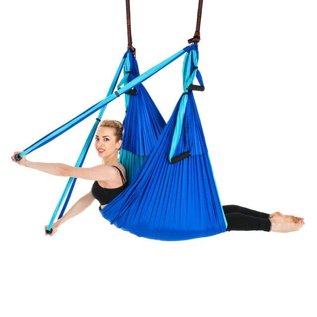 Hot 6 Maniglie Anti Gravità Yoga Amaca Trapezio Palestra di Casa Appeso Altalena Cintura Cinghia di Pilates Aerea Dispositivo di Trazione 2.5*1.5m