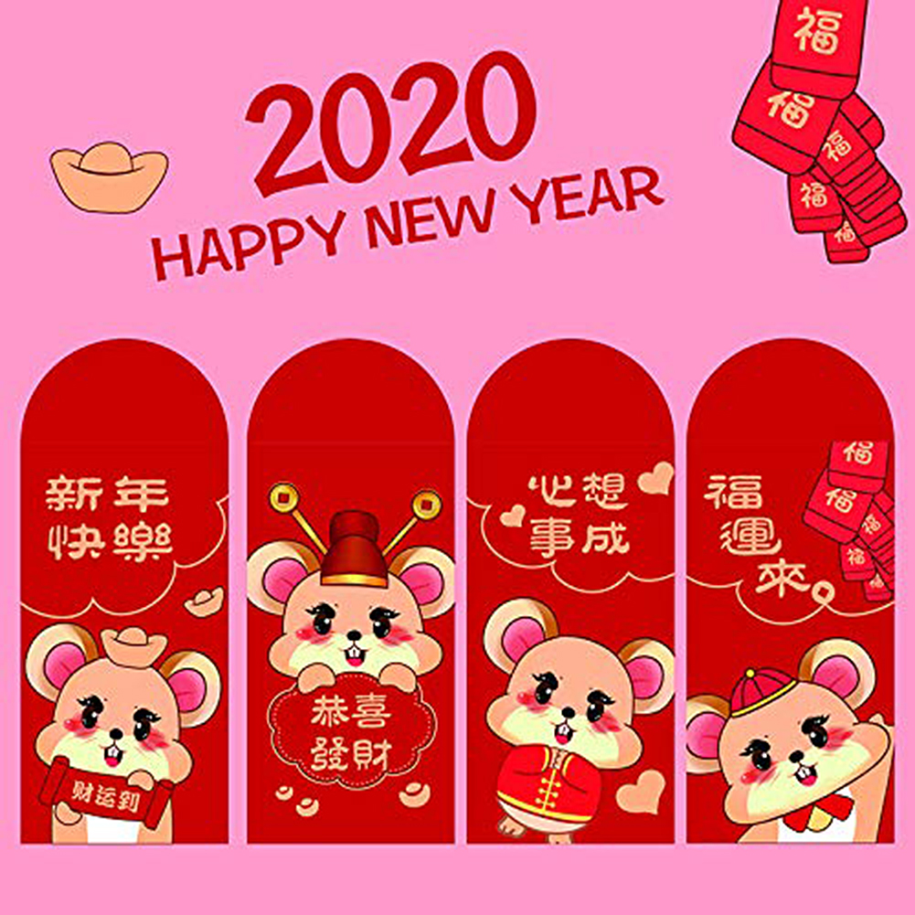 6pcs/set  Lucky Money bag Chinese Red Envelopes Lucky Pockets Red Packet For Chinese New Year And Party Gift Envelopes 2021-2