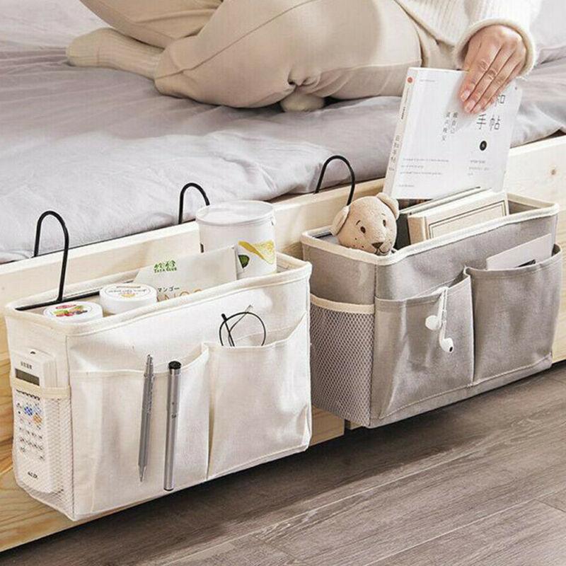 2020 Bedside Bed Shelf Pockets Gadget Storage Holder Book Organizer Couch Hanging Bag for Bed Living Room Bathrorm Accessories