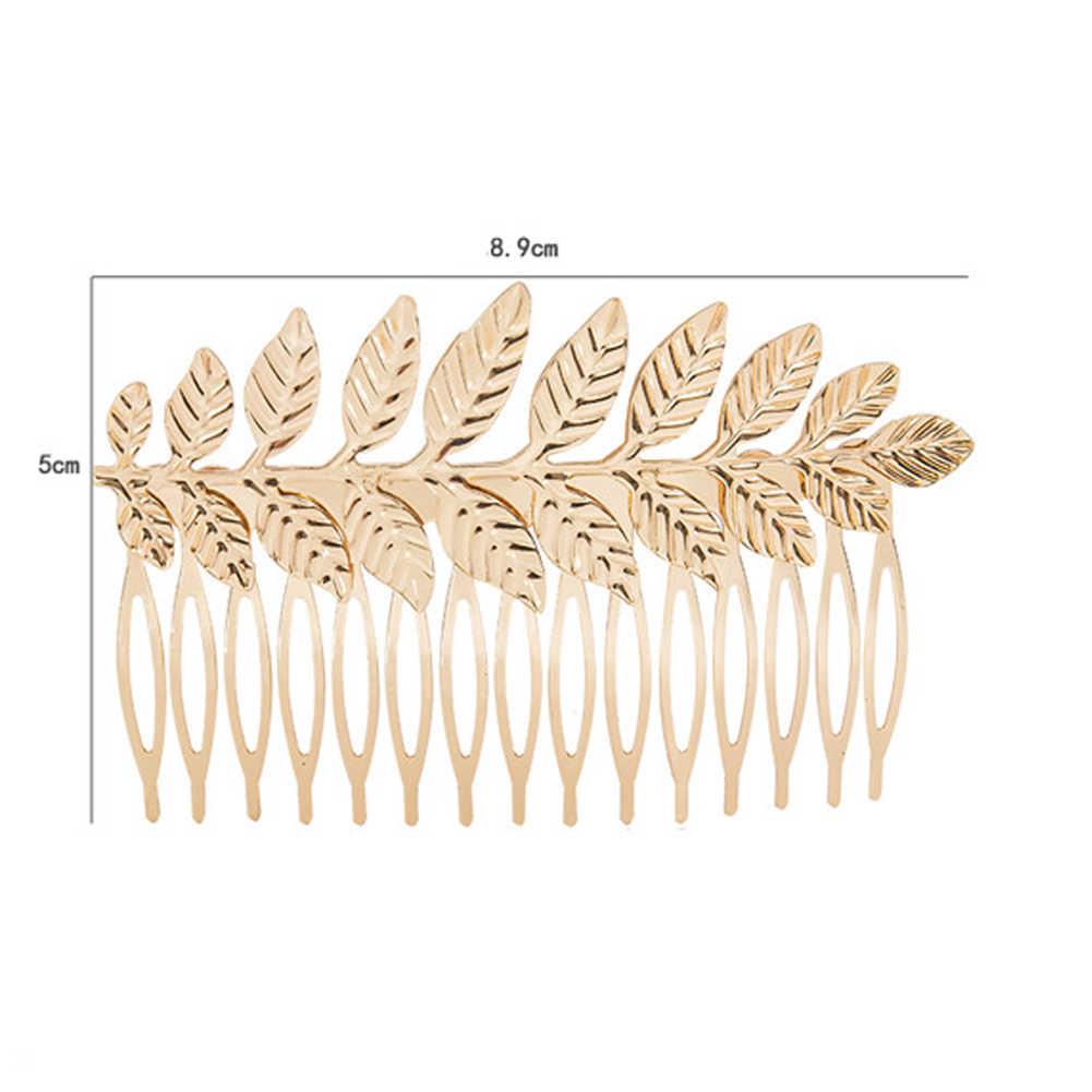 Grego nupcial acessórios de cabelo casamento headdress ouro prata folha bandana pente cabelo grampo coroa jóias headpiece