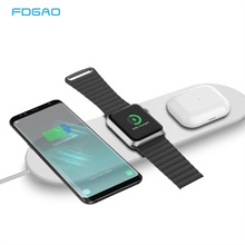 15W 3 in 1 Wireless Charger Pad for iPhone Apple Watch Airpods Pro Wireless Induction Charger Station for iPhone 11 Pro X XR XS