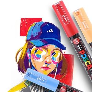 Image 4 - Uni Posca Marker Pen Set Pop Poster Reclame Graffiti Pen PC 1M PC 3M PC 5M PC 8K PC 17K Ronde Hoofd Vette Verf Pen
