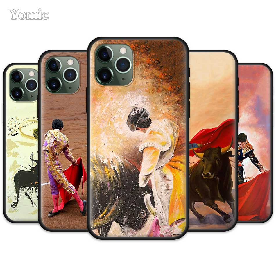 >Bullfighting <font><b>Spanish</b></font> Bullfight Pattern Case for Apple iPhone 11 Pro XR X XS MAX 7 8 6 6S Plus 5 5S SE Black Silicone Phone Coque