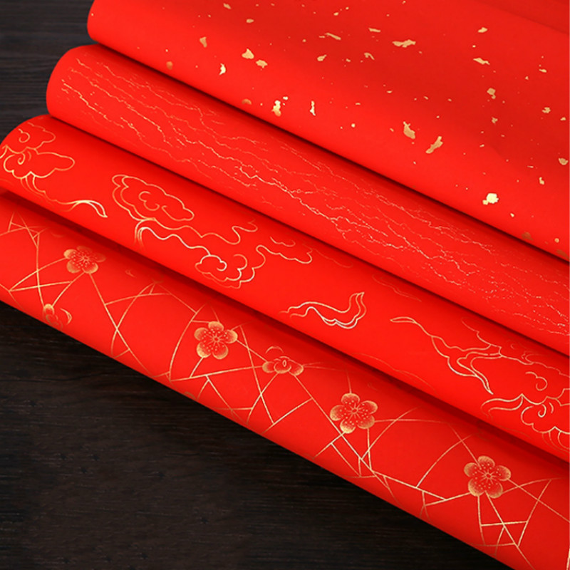Thicken Red Xuan Paper Chinese Spring Festival Paper Cutting Decoration 10pcs Chinese New Year Red Xuan Paper Rijstpapier