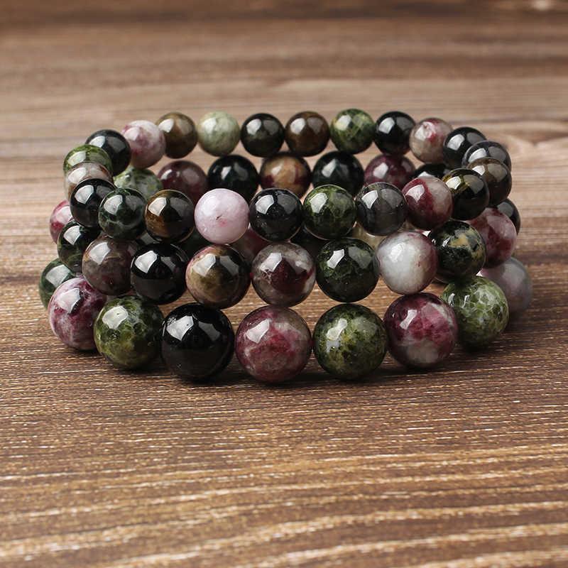 Lanli 4-12 มม.แฟชั่นสินค้าคุณภาพ Multicolor หินทัวร์มาลีนสร้อยข้อมือลูกปัดเหมาะสำหรับ Glamour rmen และผู้หญิง amulet