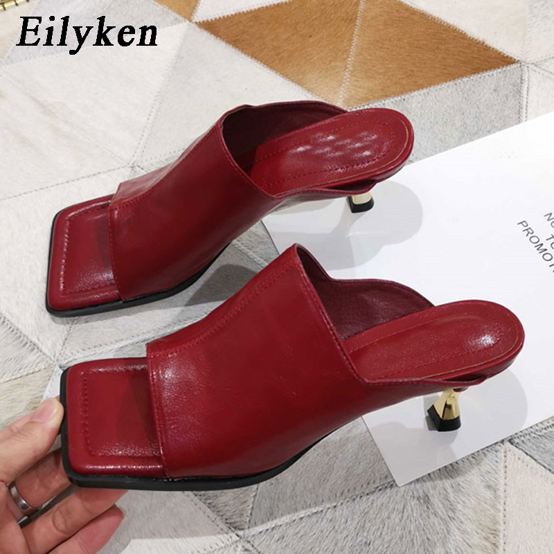 Eilyken Fashion Women Slipper Square Toe Outdoor Summer Sandals Slippers Ladies Elegant High Heel Dress Slides Shoes