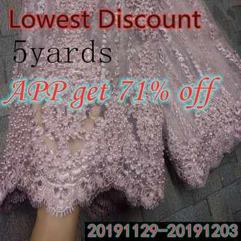 Fashion African Lace Fabric High Quality Pink Lace Nigerian Lace Fabric 2019 High Quality Lace With Beaded 5yards RF475 - Category 🛒 Home & Garden