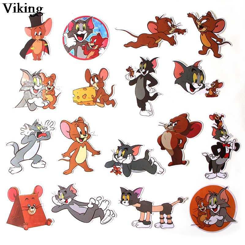 17 개/대 고양이와 마우스 스티커 만화 DIY 스티커 가방 수하물 노트북 방수 스티커 스케이트 보드 스티커 G0205