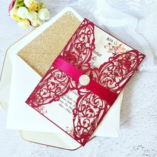Wedding-Cards Invitations Glitter-Envelope Laser-Cut Bridal-Shower Burgundy Personalized-Print