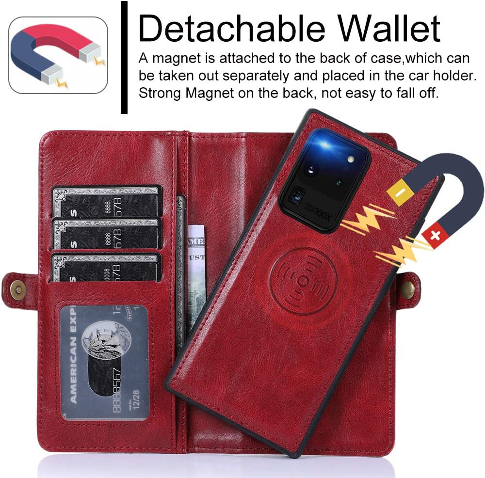 Removal Magnetic Stand Flip Wallet Leather Case for Samsung S20 Plus