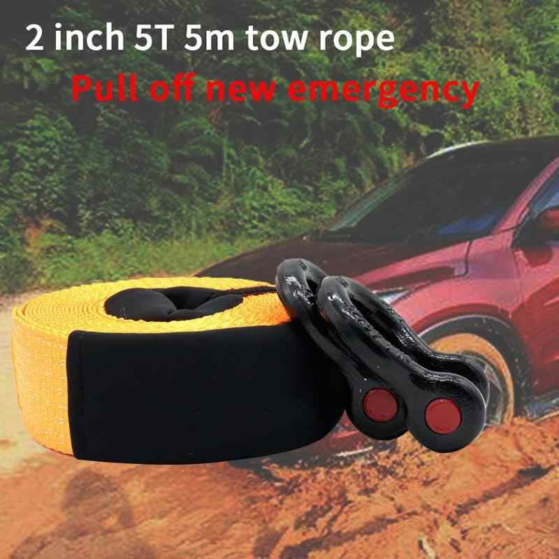 VODOOL 5m 5 ton Heavy Duty lina holownicza samochód SUV przyczepa pojazd odzyskiwanie dróg awaryjna lina do holowania pasek kablowy z 2 hakami holowniczymi