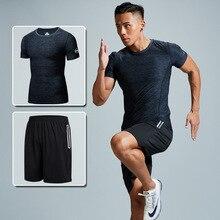 Летний спортивный мужской комплект большого размера для бега, впитывающий воздух, короткий рукав, тренировочная одежда Ad92, комплект из двух предметов