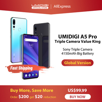 Global Version UMIDIGI A5 PRO Android 9.0 Octa Core 6.3' FHD+ Waterdrop 16MP Triple Camera 4150mAh 4GB RAM 4G Celular Smartphone