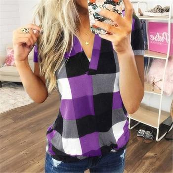 Fashion Plaid T Shirt Plus Size Cotton t shirt Casual Summer Ladies Sexy V-Neck Tunic Tops Female Women Short Sleeve Shirt Blouse