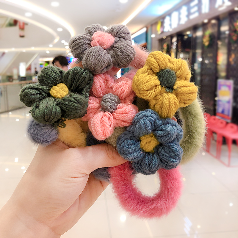 Winter Children Cute Soft Knitting Hairball Flower Elastic Hair Bands Girls Colorful Srunchies Rubber Bands Kid Hair Accessories
