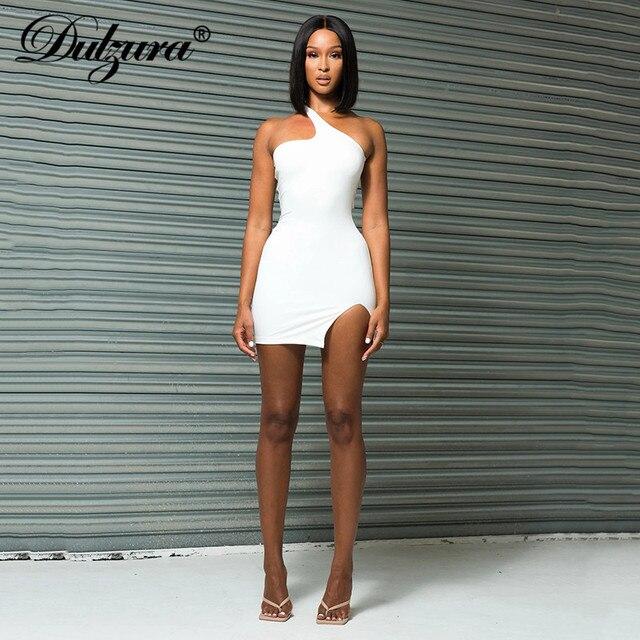 Dulzura Lace Up Bandage Cross Women Slit Mini Dress One Shoulder Sleeveless Bodycon Backless Sexy Streetwear Party Elegant Club 1