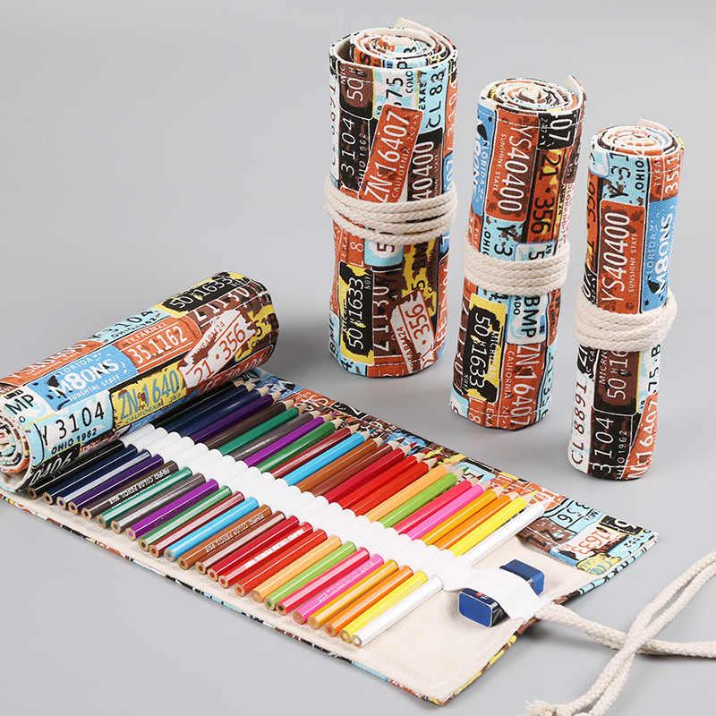 Creative ม้วนดินสอ 12/24/36/48/72 หลุมโรงเรียน Pencilcase สำหรับหญิงตลับหมึก Big Storage ปากกากระเป๋าเครื่องเขียนชุดกล่อง