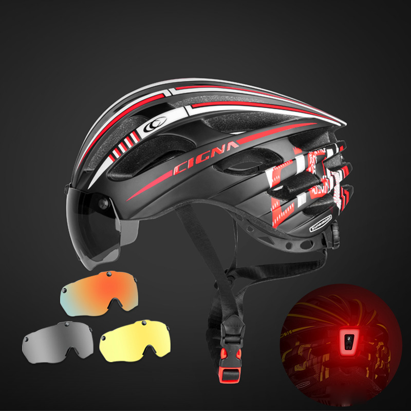 Windproof Magnetic Bicycle Helmet Safety Riding Caps Breathable Myopia Mountain Road MTB Bike Helmet With Goggles Removable Lens image
