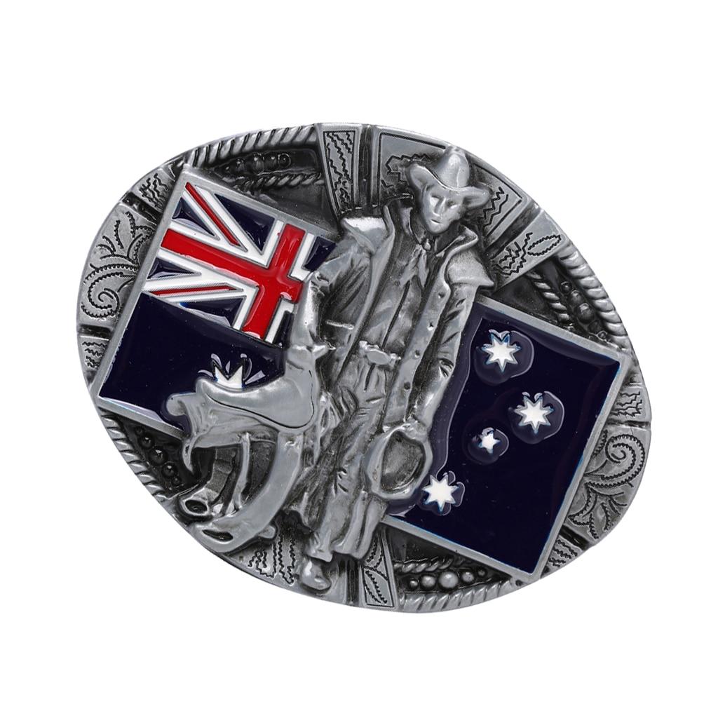Zinc Alloy Vintage Classic Knight Australian Flag Western Cowboy Cowgirl Belt Buckle