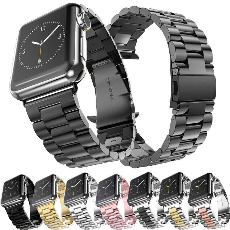 Stainless Steel Tali untuk Apple Watch Band 5 4 3 40 Mm 44 Mm Tali 38 Mm 42 Mm Gelang sport Band untuk IWatch 5 4