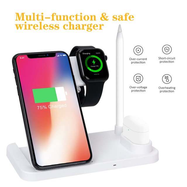 Robotcube 4 in 1 Fast 15W Qi Wireless Charger for phone 11 X XS XR 10W Quick Charge 3.0 Dock Stand For Airpods Watch