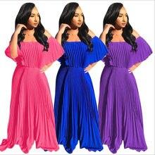2019 delle donne di autunno di Estate Beach Pieghettato il vestito Allentato vintage Lungo Maxi Beho chiffon Aderente Bangdage abiti abiti GLW8213