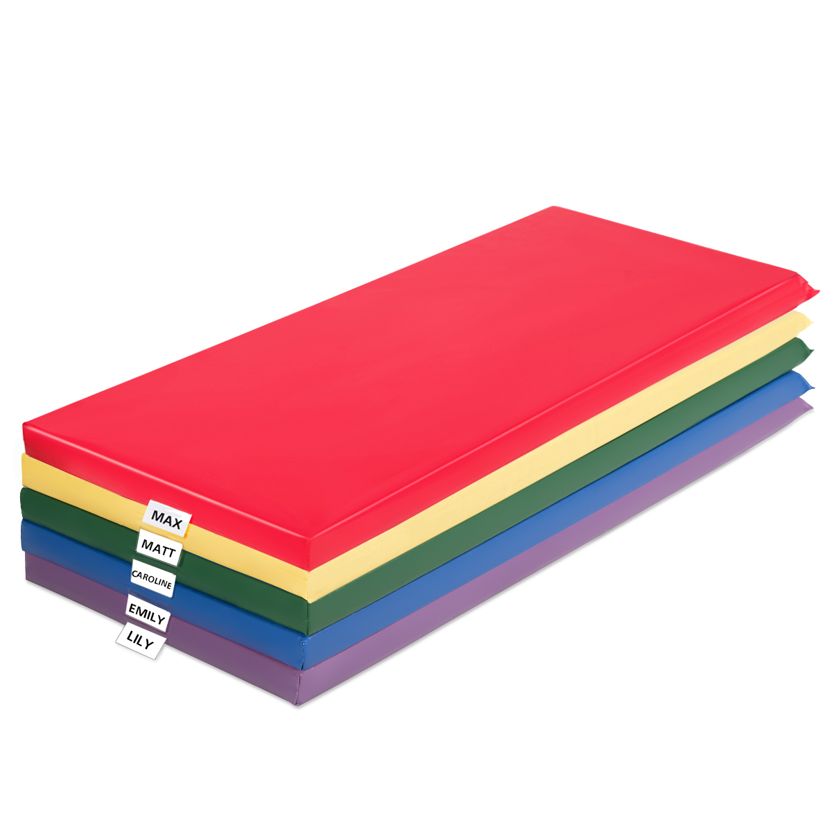 2-Inch Toddler Thick Rainbow Rest Nap Mats W/Transparent Name Tag Daycare Kids