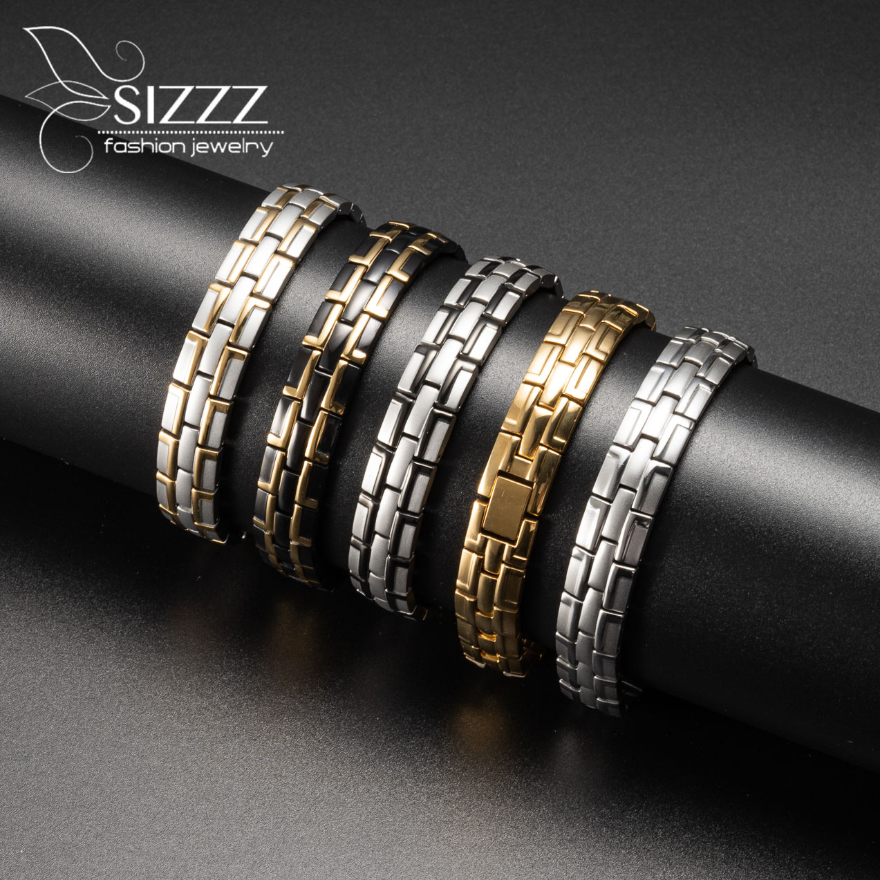 SIZZZ Trendy men's bracelet stainless steel magnetic bracelet wholesale golden magnet bracelet(China)