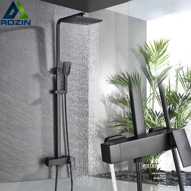 Matte Black Wall Mounted Rainfall Shower Faucet Rotate Watering Can Bath Shower Set Handshower Head Rain Bathroom Mixer Tap