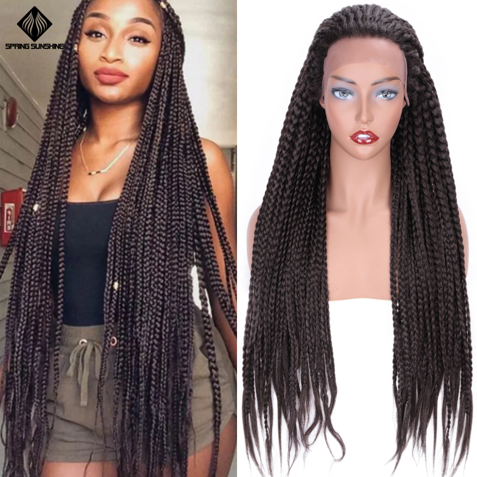 Spring Sunshine 26inch Synthetic Lace Front Wigs Dark Brown Long Box Braid Wig Purple Glueless Braided For Afro Women Daily Wear