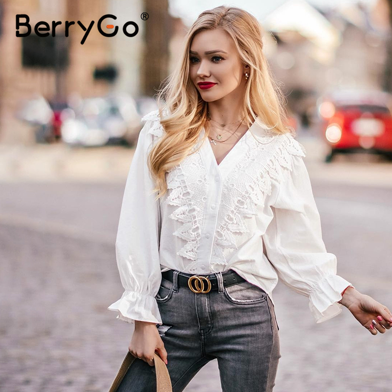 BerryGo Vintage Lace White Blouse Shirt Women Elegant Ruffle Summer Top Female Sexy Backless Lace Up Ladies Blouses Blusas 2020