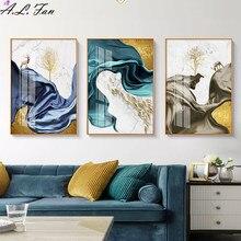 Abstracto azul fita cartaz, verde e roxo moderno alce, sorte impressão da árvore moderno quadro de pintura em tela abstracto arte da parede pictur